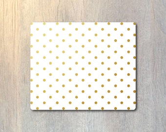 Real Gold Foil Polka Dots Pattern Mouse Pad - Gold Foil Custom Color Personalized - Computer or Office Work Station Decor