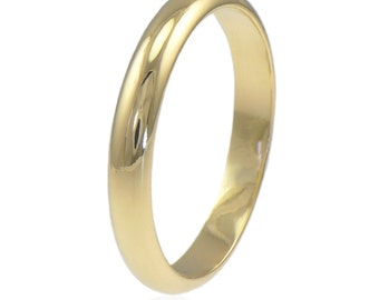 Eco Friendly Wedding Ring - 18k Yellow, White or Rose Gold - Handmade to Size