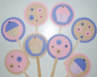 Cupcake Birthday Party Cupcake Toppers, Cupcake theme cupcake toppers, Cupcake Toppers