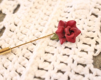 Leather rose stick pin
