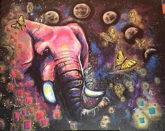 Pink Elephant Art Print 11x17