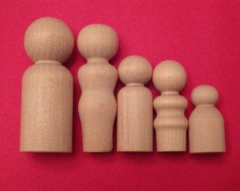 Wood Peeps - Wood People - Wood Peg People - Unfinished Wood People