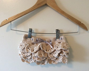 Crocheted Lace Girls Skirt Tied with Ribbon