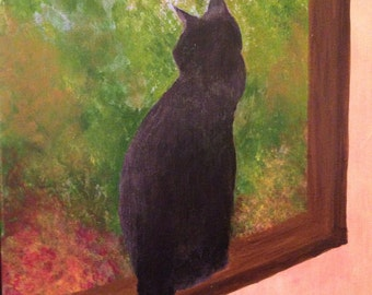 """Cat Painting """"Zoe in the Window"""" Acrylic on Canvas   Signed Original"""