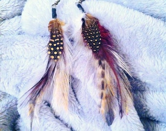 Multi-colored Faux Feather Earrings