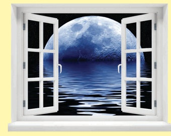 Window with a View Blue Moon Wall Mural