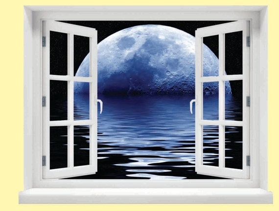Window with a view blue moon wall mural for Blue moon mural