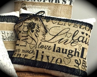 Burlap Script, Laugh,Love, Live, -  Black/Cream Pillow