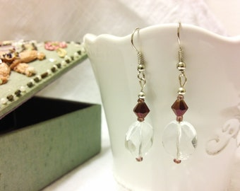 Purple and Transparent Drop Earrings