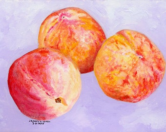 Three Peach Painting, Fruit Painting, Kitchen Art, Small Format Art, Acrylic Painting