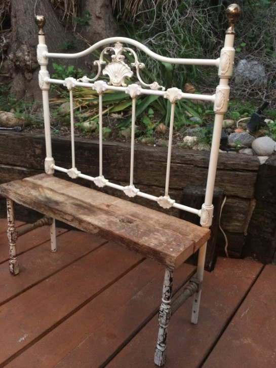 Antique Iron Headboard Bench