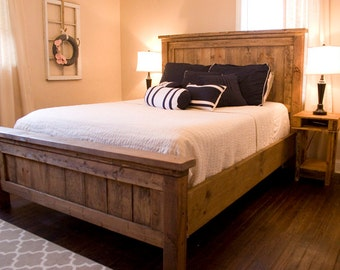 Farmhouse Bed - Rustic Furniture - Wooden Bed **Please contact us prior to ordering for custom shipping charge**