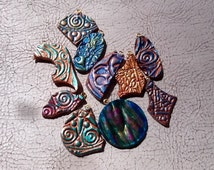 Leather hand tooled hand painted charms beads 10 total multicolor