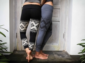 Women's Yoga Pants - BLACK - Cloud Lace Leggings - fitness, dance, movement, gym, tibetan cloud, tribal print