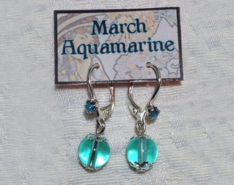 March Birthstone Earrings Auqamarine