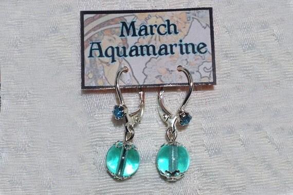 March Birthstone Earrings Auqamarine