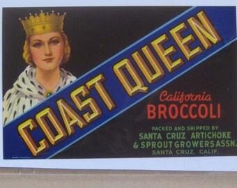 1940s Vintage Paper Vegetable Fruit Crate Label Coast Queen California Broccoli