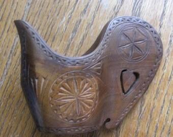 Vintage Hand Carved Yugoslavia Wooden Pitcher, Creamer, Shepherds Cup, Folk Art