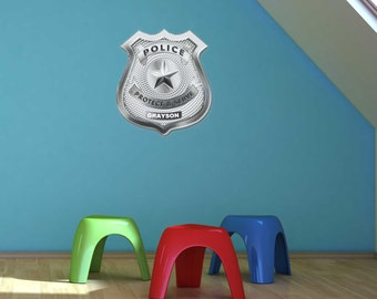 Police Badge Personalized Wall Graphic- Reusable Wall Sticker, 20x21, Child Decor, Art