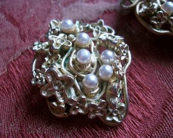 Huge Vintage French Earrings by 'Orena' Paris Clip On 1980s Pearls Goldtone