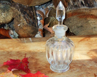 Perfume Bottle Vinegar Cruet Clear Blown Glass Prism Stopper Vintage Kitchen Ware