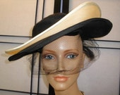 "UNUSUAL Vintage 50s, Gilbert Orcel French Designer, Authorized Reproduction by ""G. Howard Hodge"" Black & Cream Straw WIDE BRIM Hat"