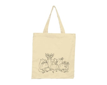 Woodland Halloween Screenprinted Tote- Limited Edition