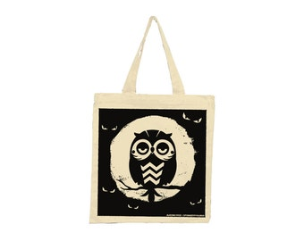 Lil Hoot don't care about spooky eyes Screenprinted Tote- Limited Edition