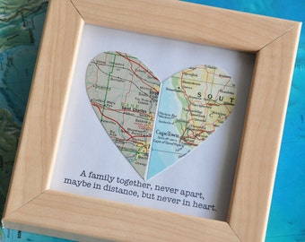 Gift for Distance Parents Sister Brother Map Heart Framed with Text