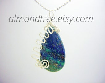 SALE Peacock wire wrapped pendant, necklace optional id1340438 blue green lapis Chrysocolla, bright color fashion accessories