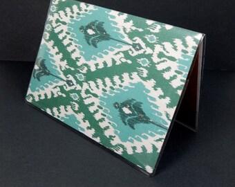 Passport Cover - ikat diamonds - exotic teal, turquoise, and cream ikat print passport holder