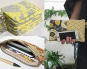 CREATE your 7 Wedding Clutches, gift pouches, 2 pockets, bridesmaids, bridal, you choose 7 pouches