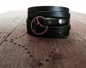 FREE SHIPPING - Leather Wrap Bracelet in Black leather with Small Copper buckle