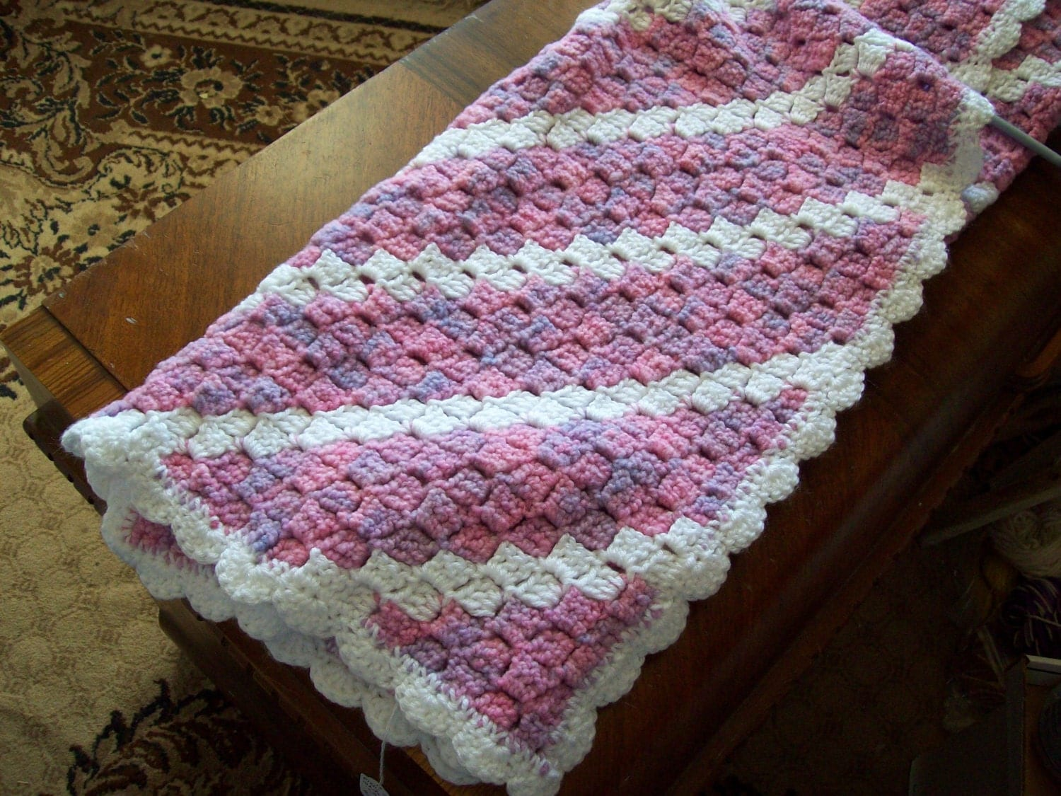 Crochet Pattern For C2c Afghan : Varigated Pink with White C2C Baby Blanket/afghan