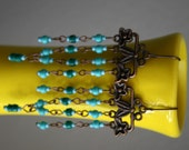 Turquoise and Green Chandeliers long earrings