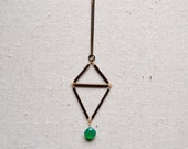 Large Double Triangle necklace with green onyx