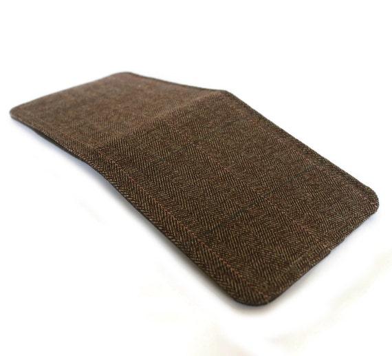 Mens Wallet / Super Thin Minimalist BiFold Fabric Wallet / Brown Herringbone / Vegan Wallet