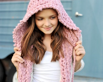 My Hoodie Scarf  With Pom Poms Crochet Pattern Tweens - Teens - Women