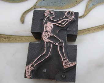 Vintage Letterpress Printers Block Basketball Player