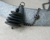 Black Cairn Necklace - Cairn Necklace - Zen - spiritual - black beach stone necklace - Beach Pebble Necklace - Cairn Jewelry - boho chic