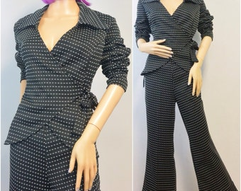 Black Dotted Swiss Polyester Pant Suit | 1970s Vintage Suit | Size Medium Large
