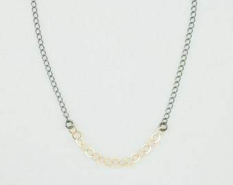 Single Sash Necklace with Oxidized Brass Chain and 14k Gold Fill Sash