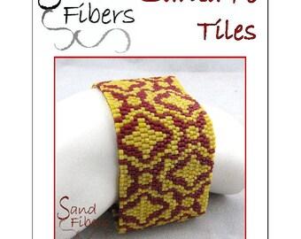 Peyote Pattern - Santa Fe Tiles Peyote Cuff / Bracelet  - A Sand Fibers For Personal/Commercial Use PDF Pattern