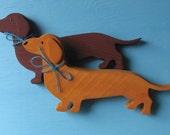 Dachshund Weenie Dog Rustic Shelf Dog Decoration PICK Brown or Blonde