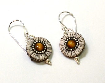 Abstract daisy earrings polymer clay and tiger eye stone sterling silver bead inlay with sterling silver hooks