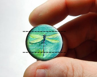 25mm 20mm 16mm 12mm 10mm or 8mm Glass Cabochon - Green Dragonfly - for Jewelry and Pendant Making