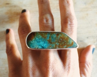 SALE  - Truly Tremendous Kingman Turquoise Statement Ring size 7.5