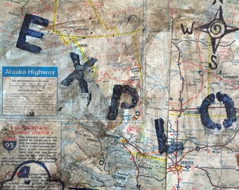 Mixed media travel map with car painting on vintage metal tray