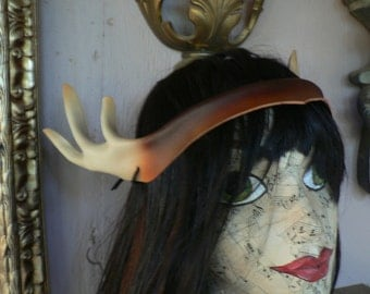 Antlers... handsculpted from leather, great Woodland costume accessory