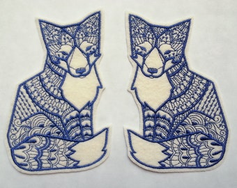 Iron On Patch Tribal Fox Appliques in Cream Felt with Navy Thread - set of 2